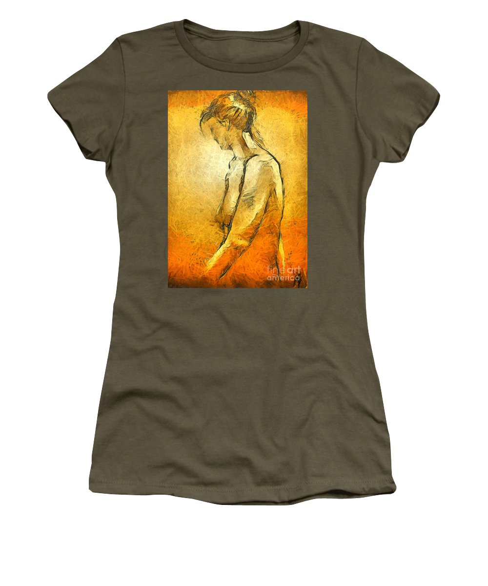 Nude Women's T-Shirt (Athletic Fit) featuring the painting Nude Viii by Dragica Micki Fortuna