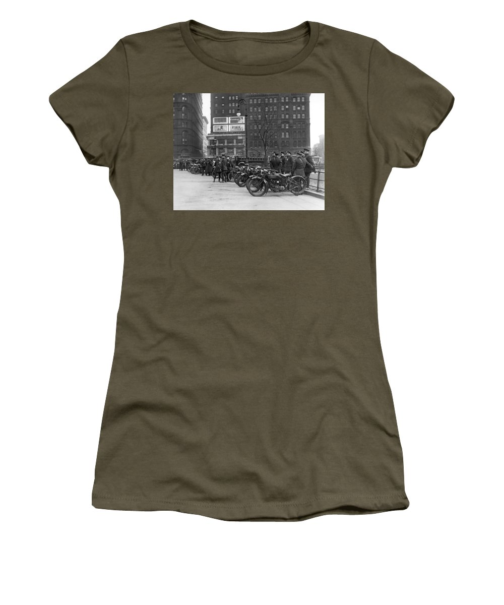 1920's Women's T-Shirt featuring the photograph Ny Motorcycle Police by Underwood Archives