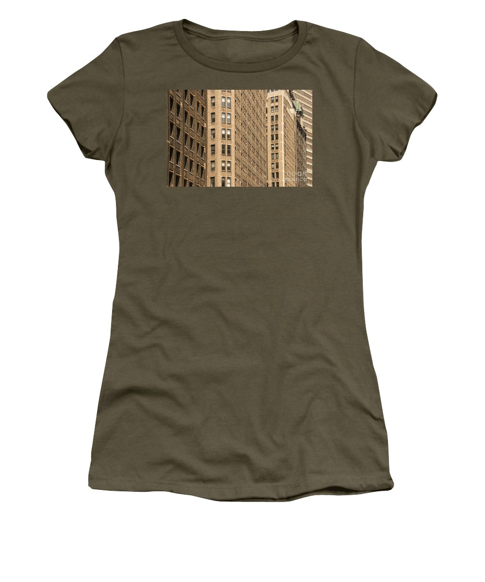 Apartment Building Apartments Buildings Window Windows Structure Structures Architecture New York City Cities Cityscape Cityscapes Women's T-Shirt featuring the photograph Nyc Brown Tones by Bob Phillips