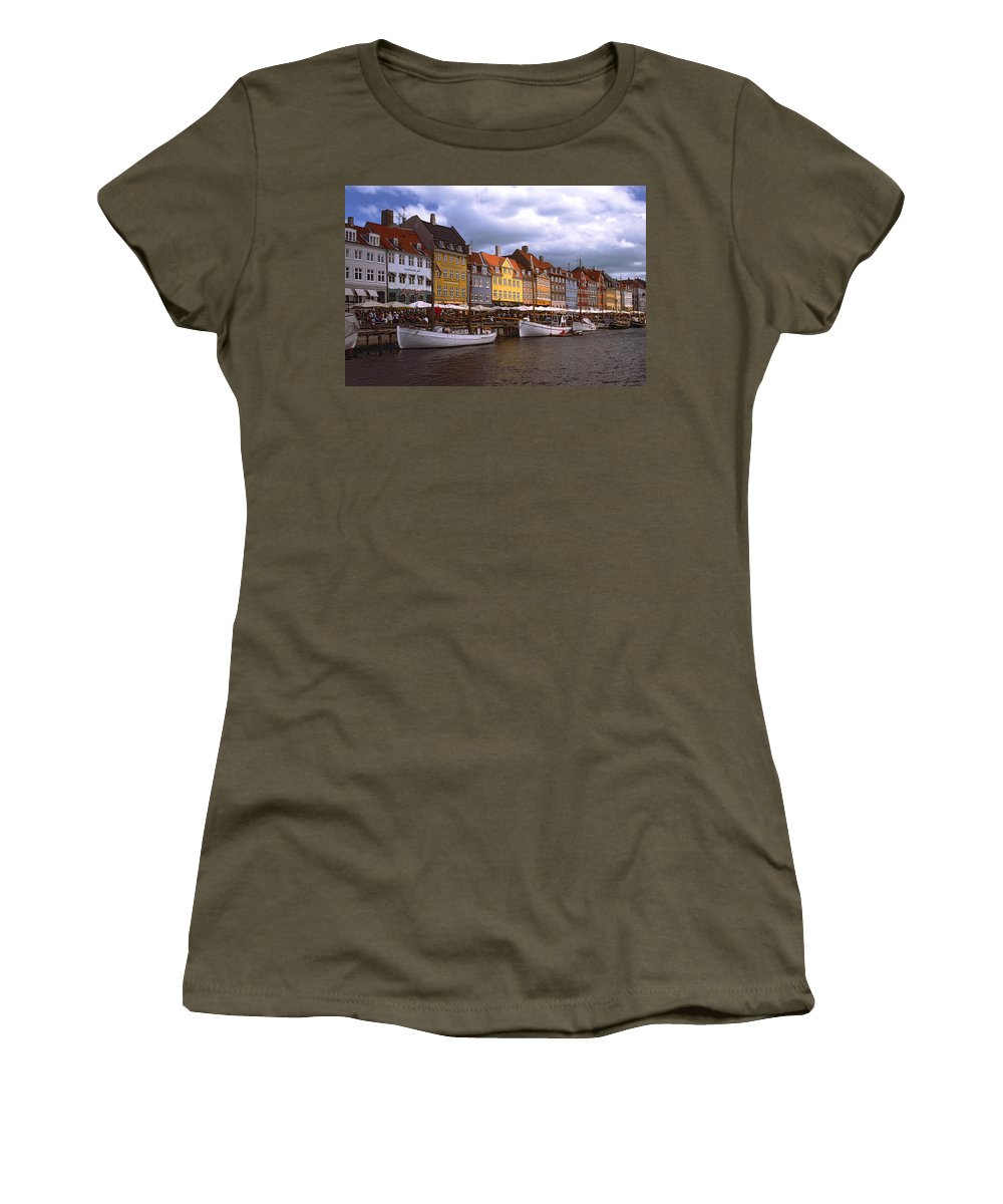 Canal Scene Women's T-Shirt featuring the photograph Nyhavn Copenhagen by Sally Weigand