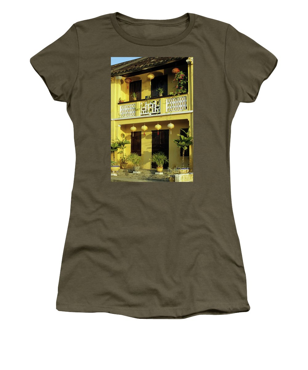 Vietnam Women's T-Shirt (Athletic Fit) featuring the photograph Ochre Building 01 by Rick Piper Photography