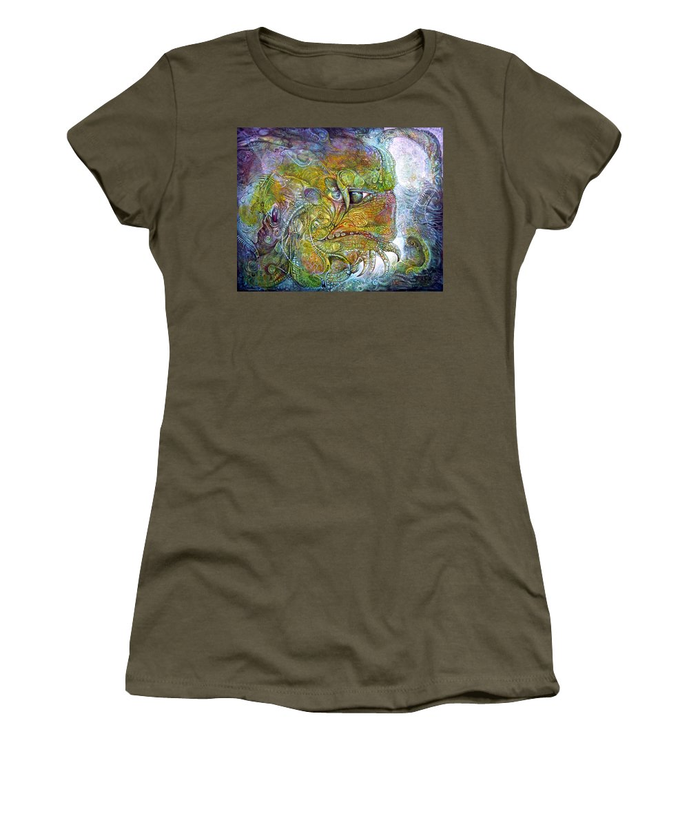 Tiamat Women's T-Shirt featuring the painting Offspring Of Tiamat - The Fomorii Union by Otto Rapp