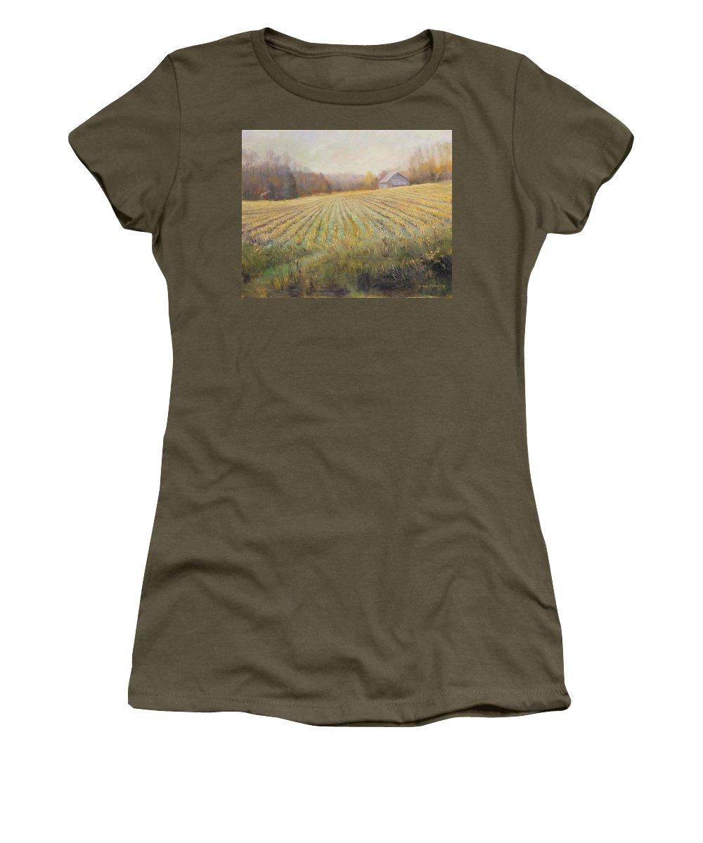 Farm Women's T-Shirt featuring the painting Ohio County Farm Indiana by Steve Haigh