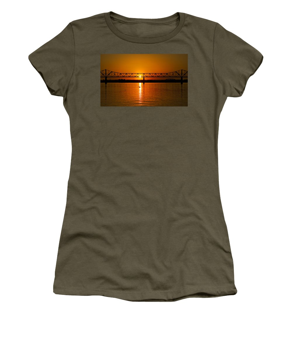 Ohio River Women's T-Shirt featuring the photograph Ohio Sunset by Diana Powell