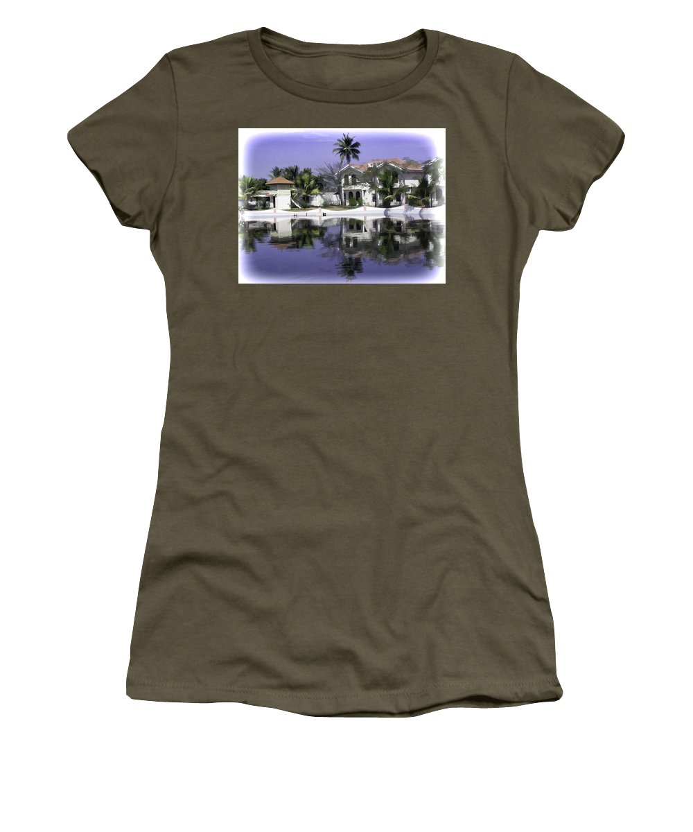 Alleppey Women's T-Shirt featuring the digital art Oil Painting - View Of The Cottages And Palm Trees by Ashish Agarwal