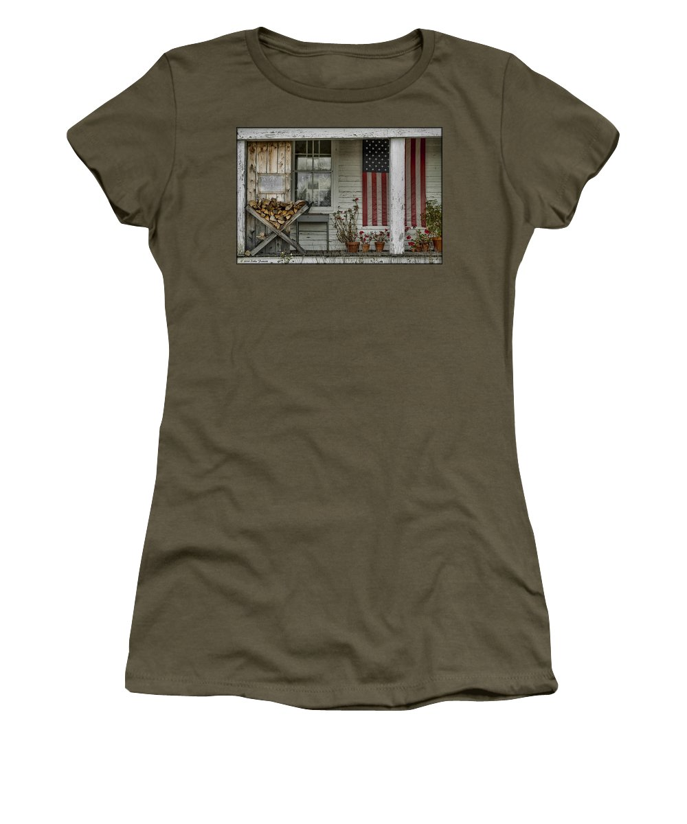 Flag Women's T-Shirt featuring the photograph Old Apple Orchard Porch by Erika Fawcett
