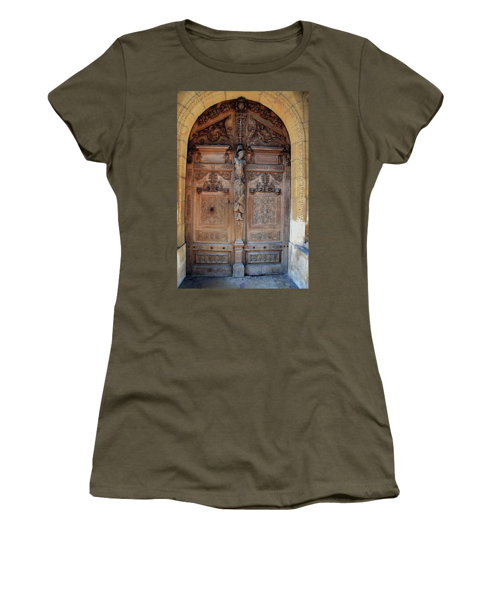 Door Women's T-Shirt featuring the photograph Old Carved Church Door by Christiane Schulze Art And Photography