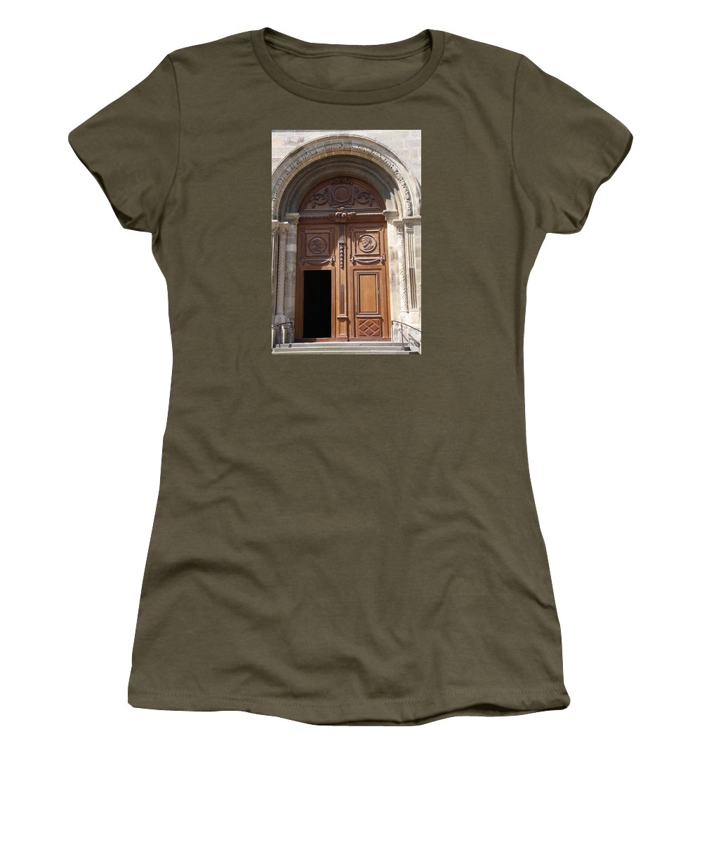 Door Women's T-Shirt featuring the photograph Old Church Door Cathedral Autun by Christiane Schulze Art And Photography