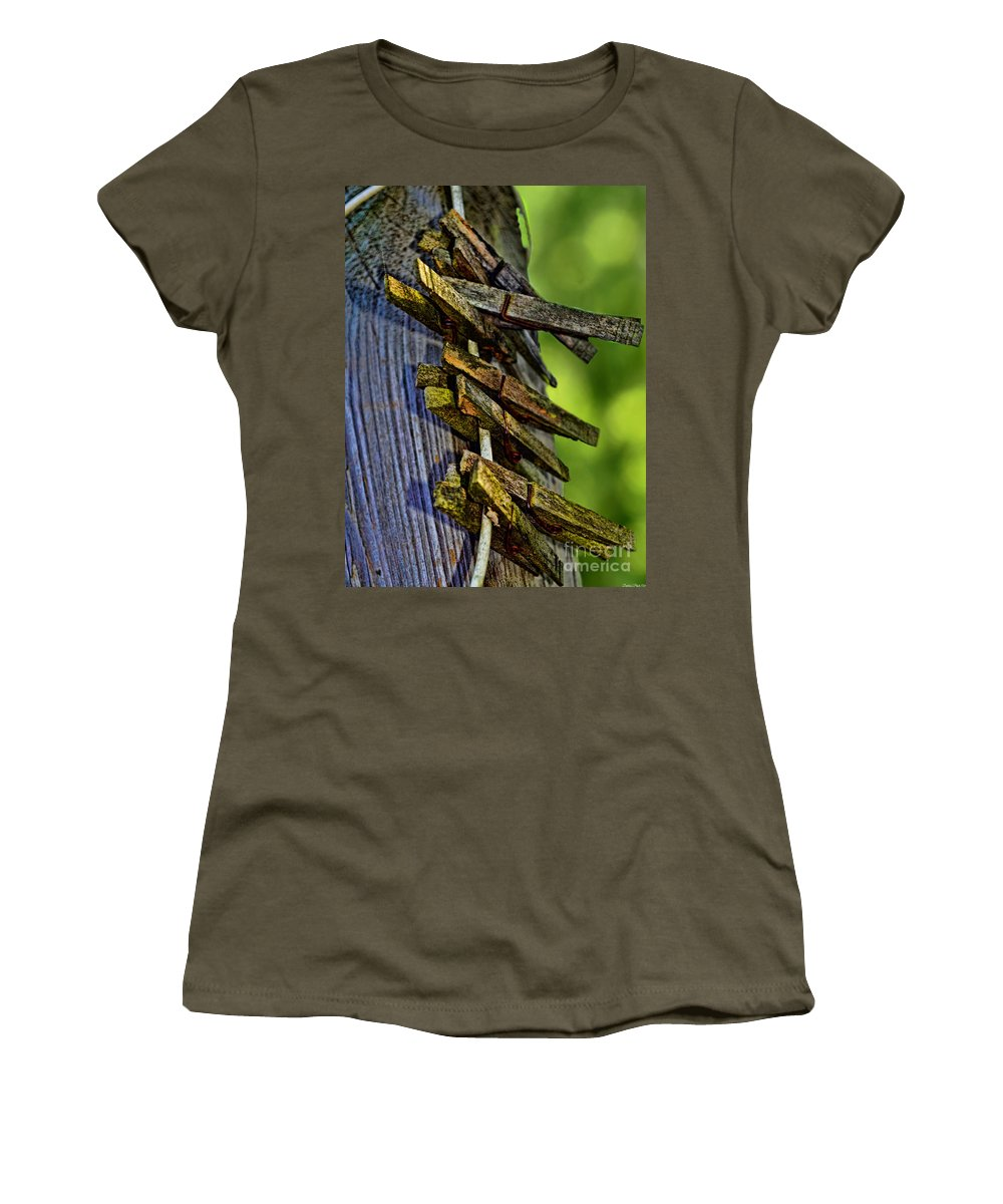 Rustic Women's T-Shirt featuring the photograph Old Clothes Pins I by Debbie Portwood