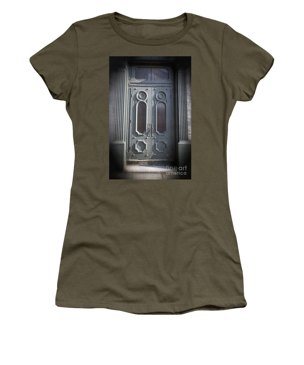 2013 Women's T-Shirt featuring the photograph Old Doorway Quebec City by Edward Fielding
