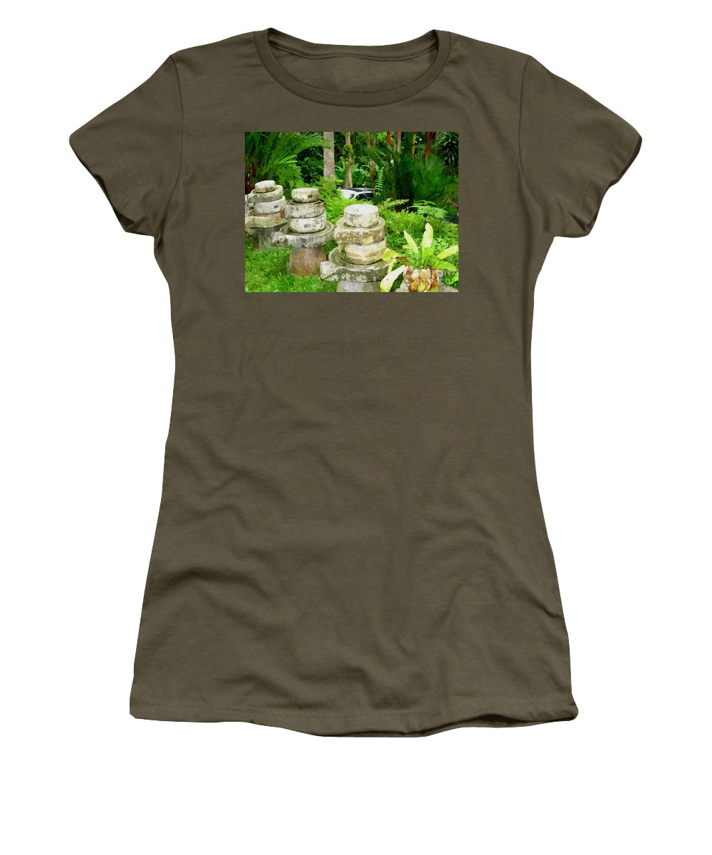 Add Women's T-Shirt featuring the painting Old Fashion Stone Bean Grinder by Jeelan Clark