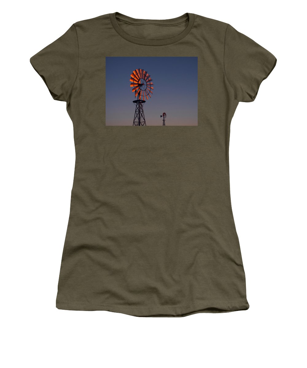 Windmills Women's T-Shirt featuring the photograph Old Fashioned Wind Mill by Don Spenner