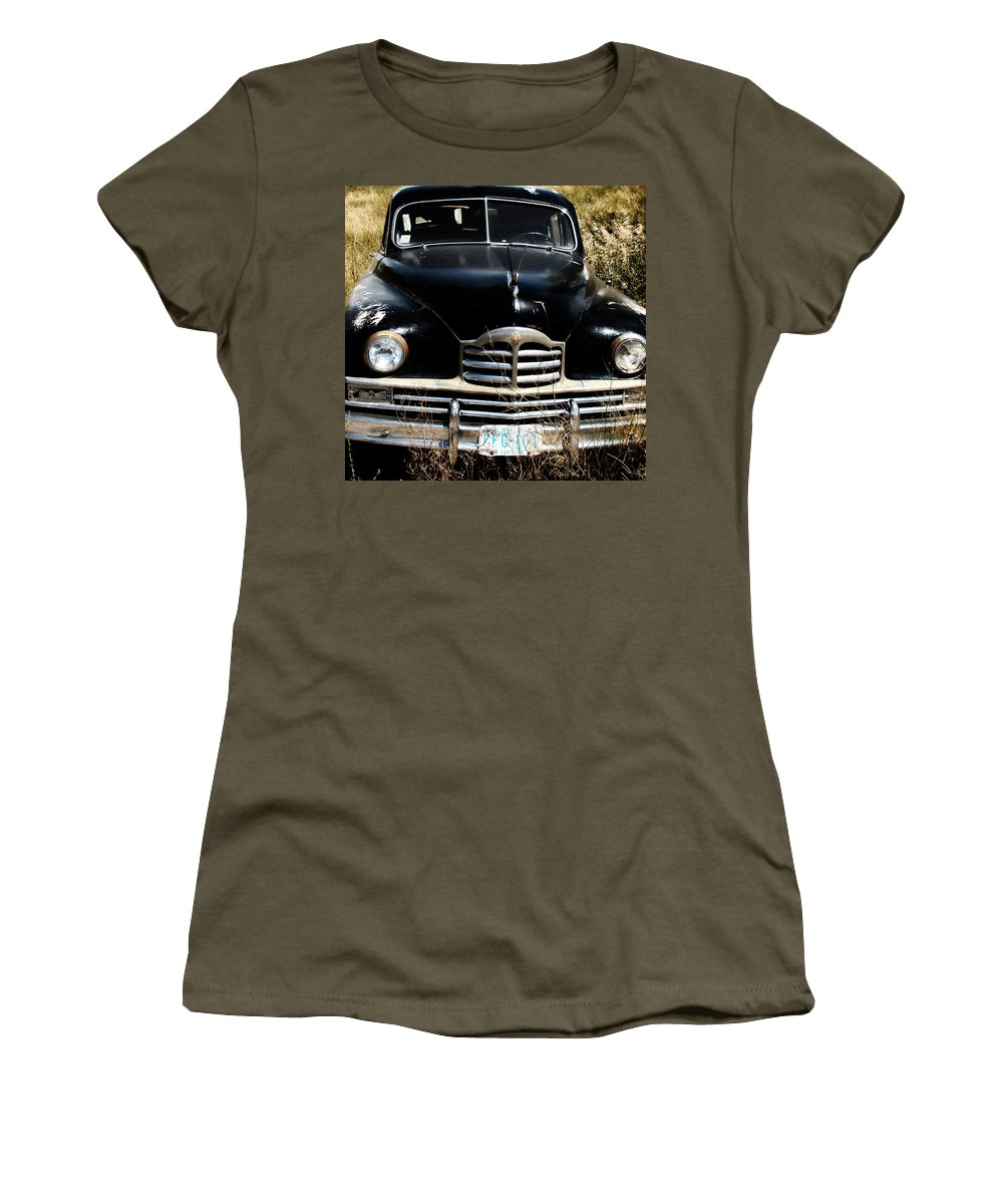 Packard Women's T-Shirt featuring the photograph Old Packard by Cathy Anderson