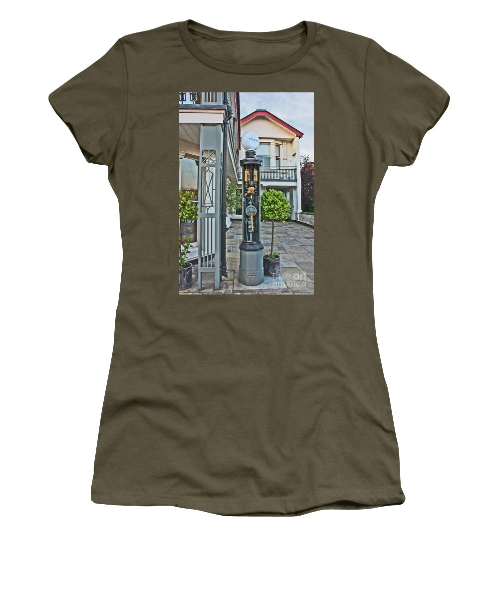 Stokes Garage Women's T-Shirt featuring the photograph Old Petrol Pumps Stockbridge by Terri Waters