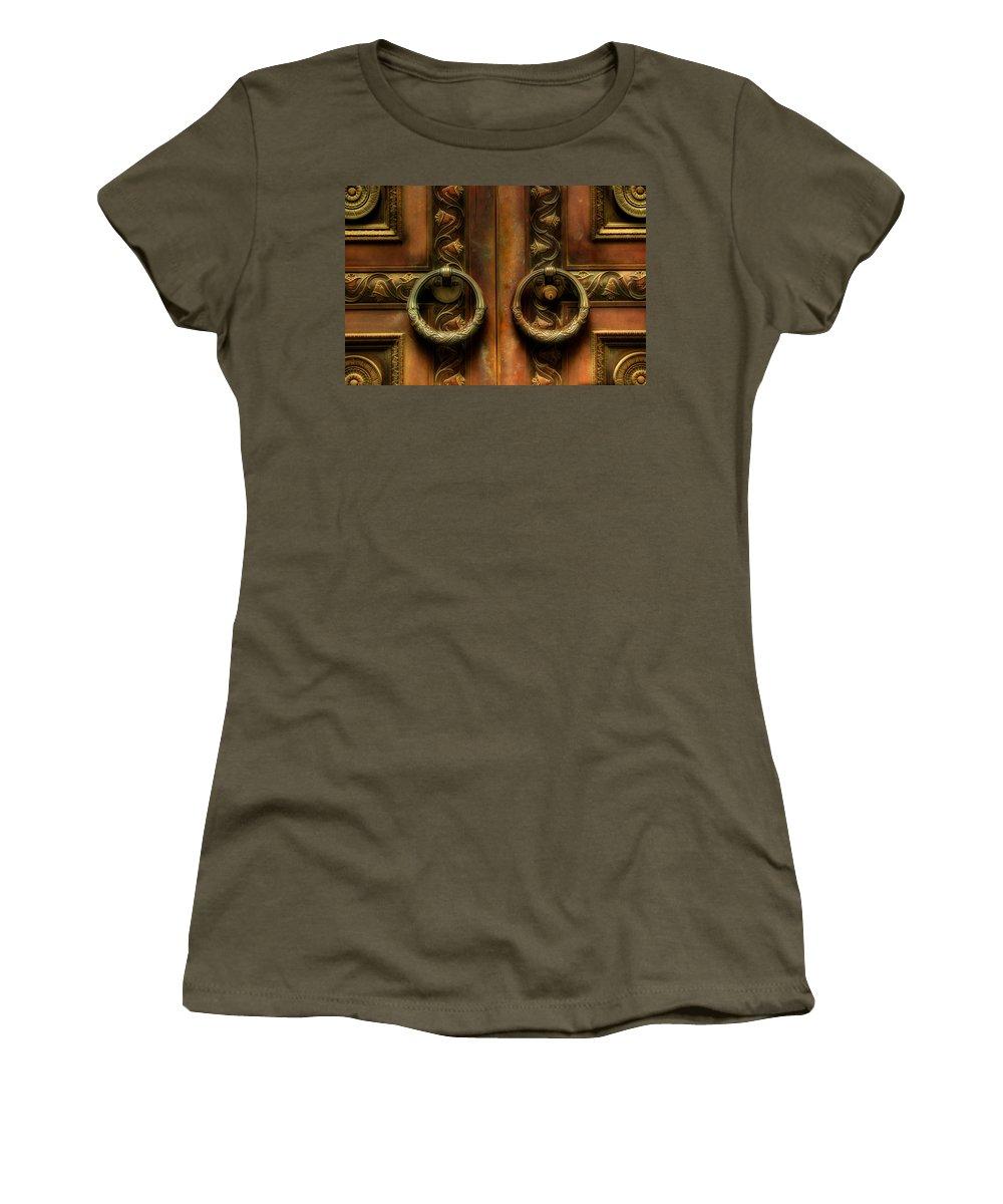 Steel Door Women's T-Shirt featuring the photograph Old Steel Door by Michael Eingle