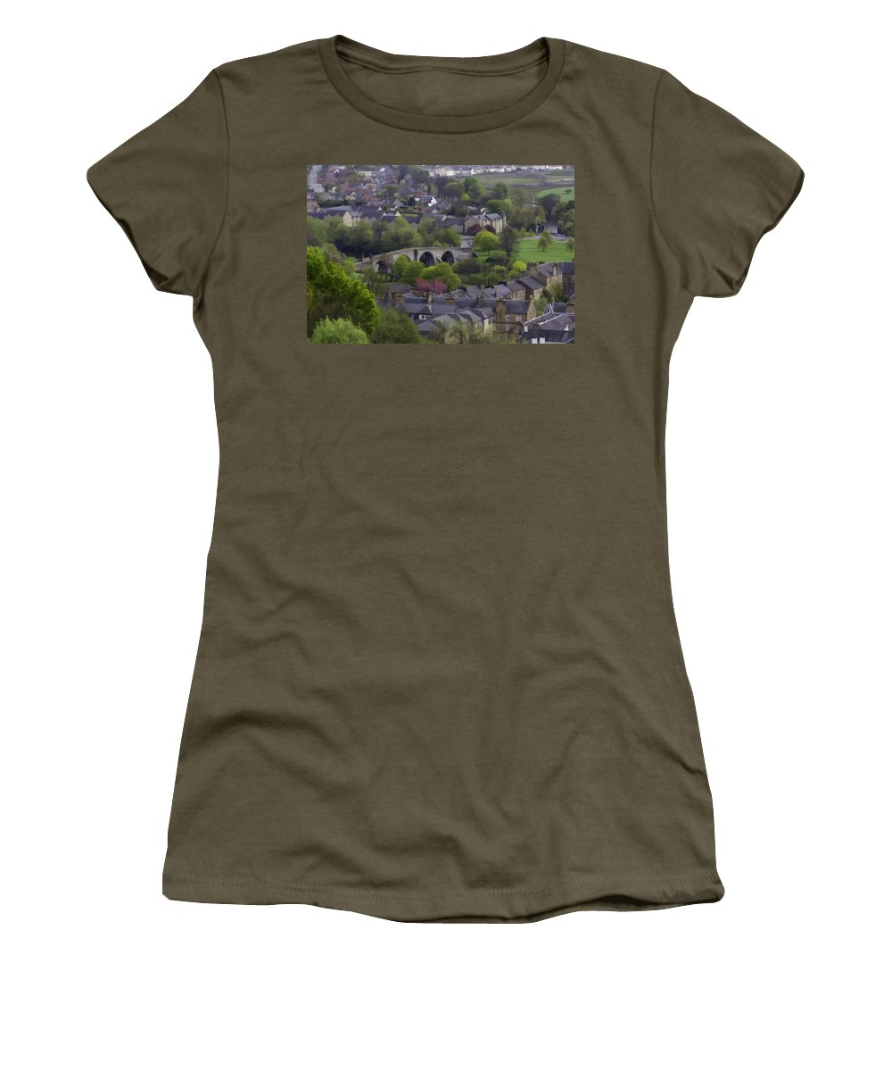 Bridge Women's T-Shirt featuring the photograph Old Stirling Bridge And Houses As Visible From Stirling Castle by Ashish Agarwal