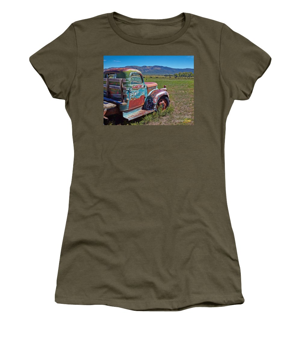 Old Women's T-Shirt featuring the photograph Old Taos Pickup Truck by Matt Suess