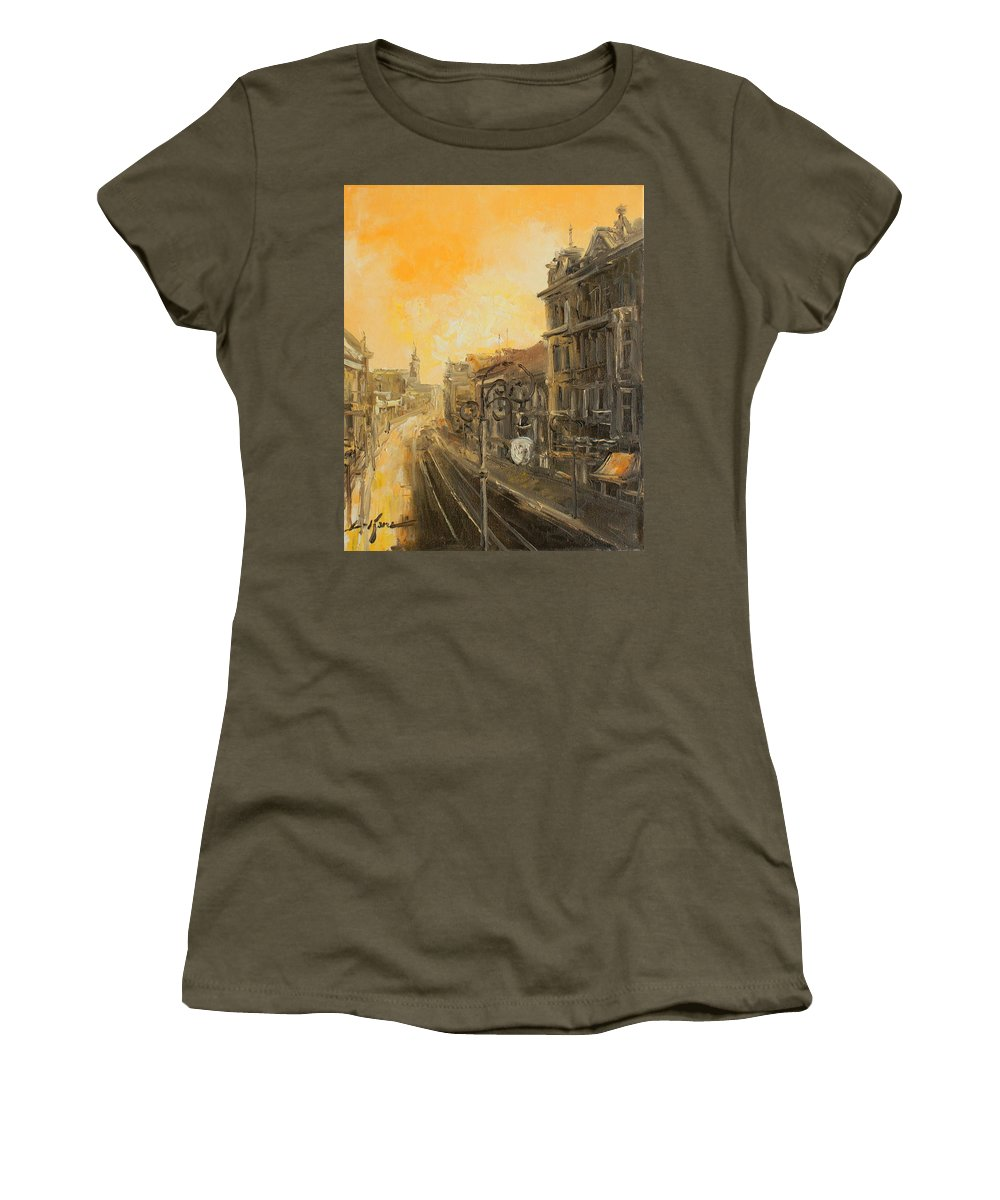 Marszalkowska Women's T-Shirt featuring the painting Old Warsaw - Marszalkowska by Luke Karcz