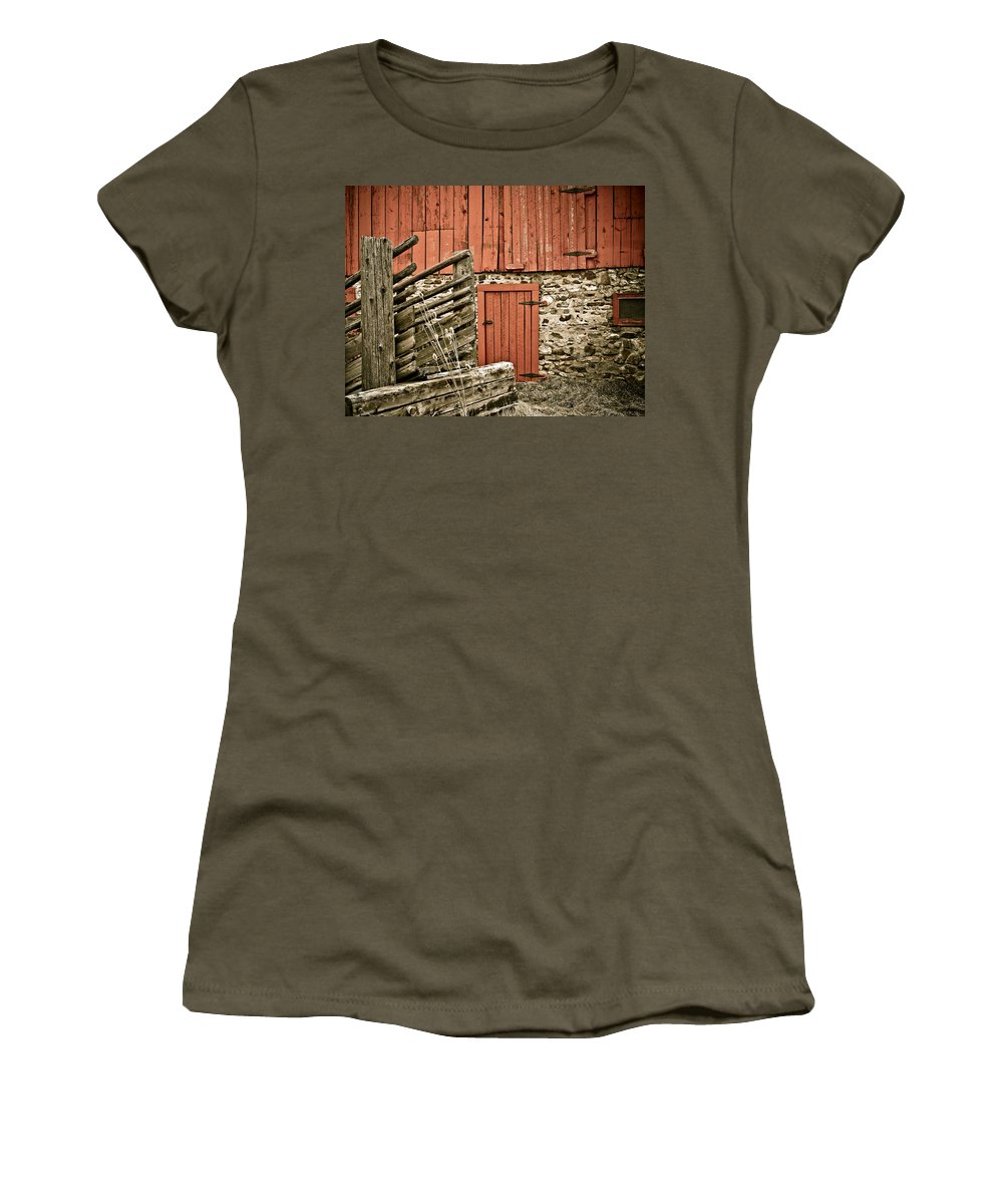 Old Women's T-Shirt (Athletic Fit) featuring the photograph Old Wood by Marilyn Hunt