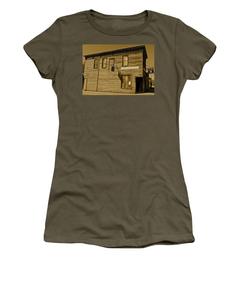 Sepia Women's T-Shirt featuring the photograph Oldest Drug Store 2 by Denise Mazzocco