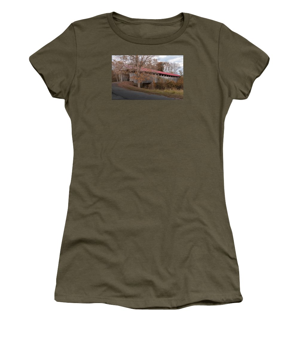 Architecture Women's T-Shirt featuring the photograph Oldtown Covered Bridge by Jack R Perry