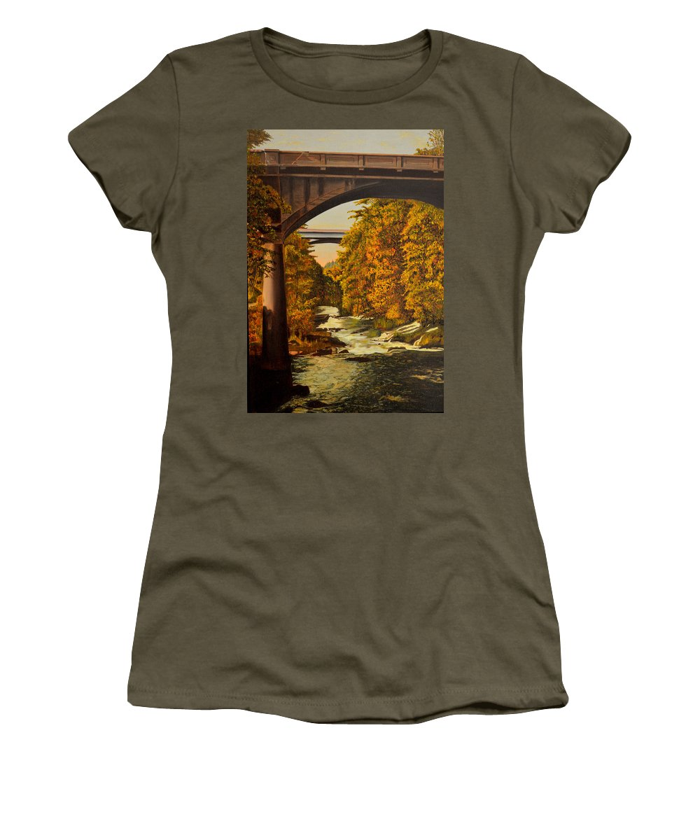 Bridge Women's T-Shirt featuring the painting Olympia by Thu Nguyen