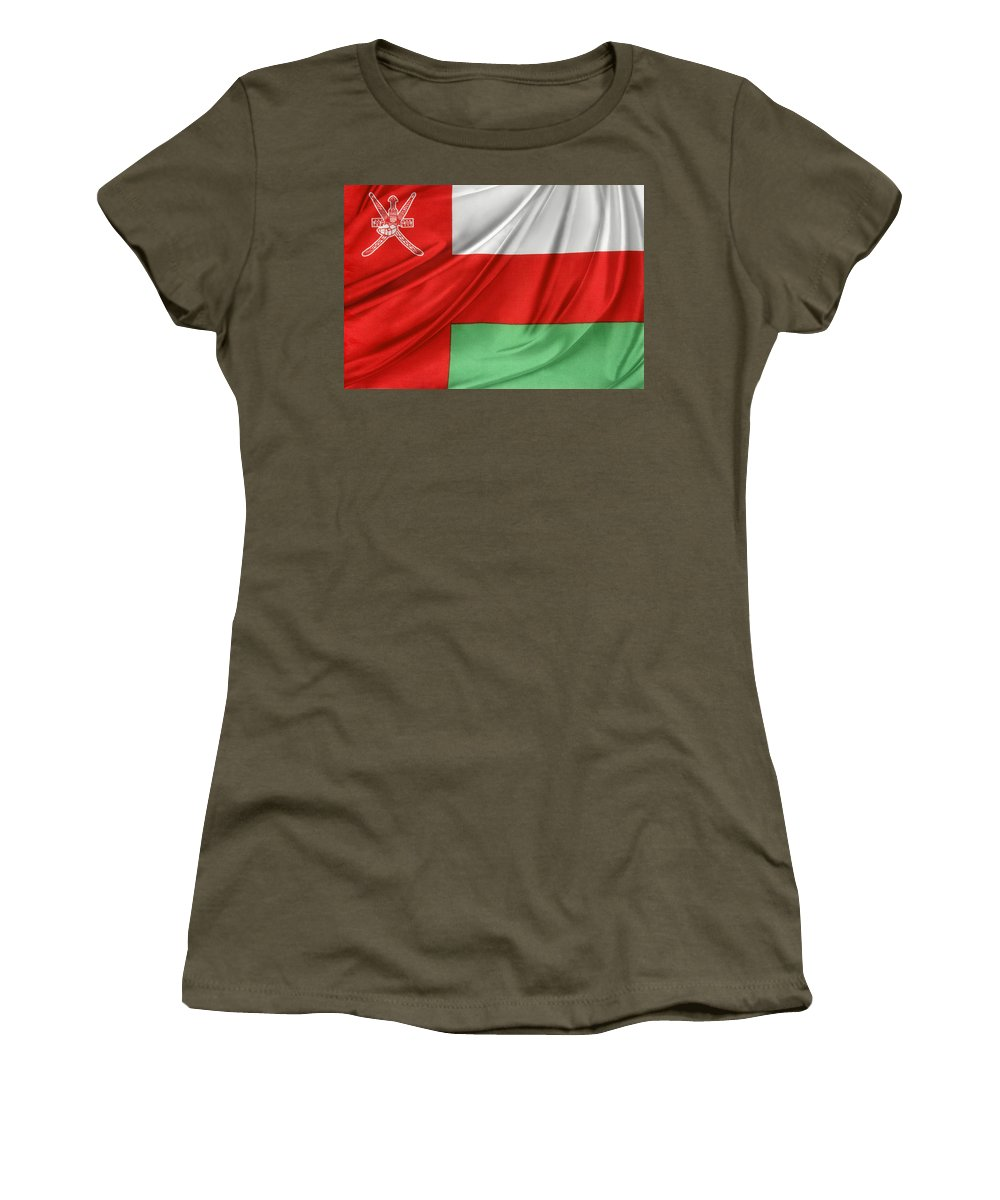 Background Women's T-Shirt featuring the photograph Oman Flag by Les Cunliffe
