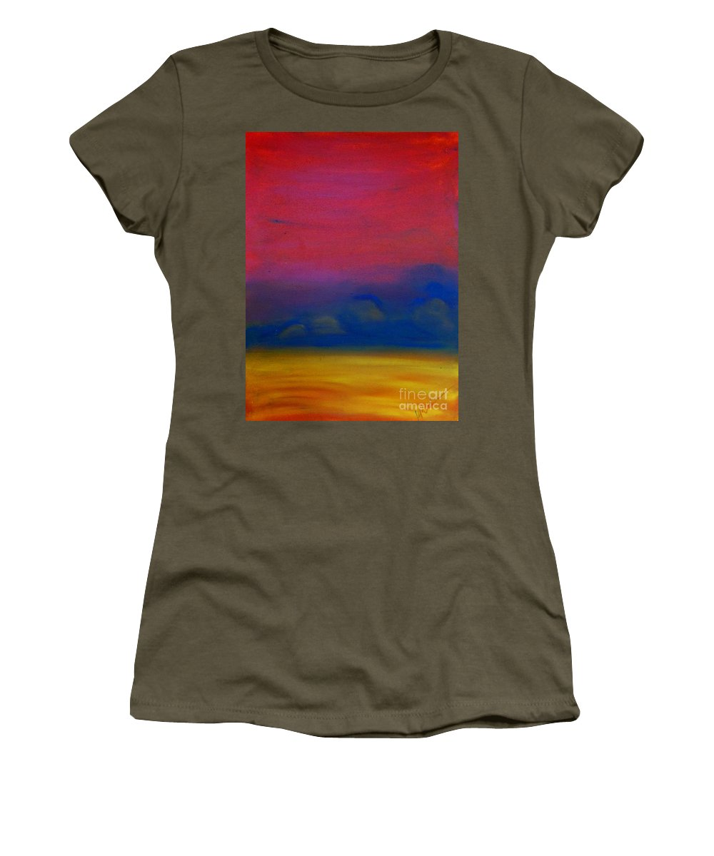 Red Women's T-Shirt featuring the painting Wilder Every Day by Kitty Mecham