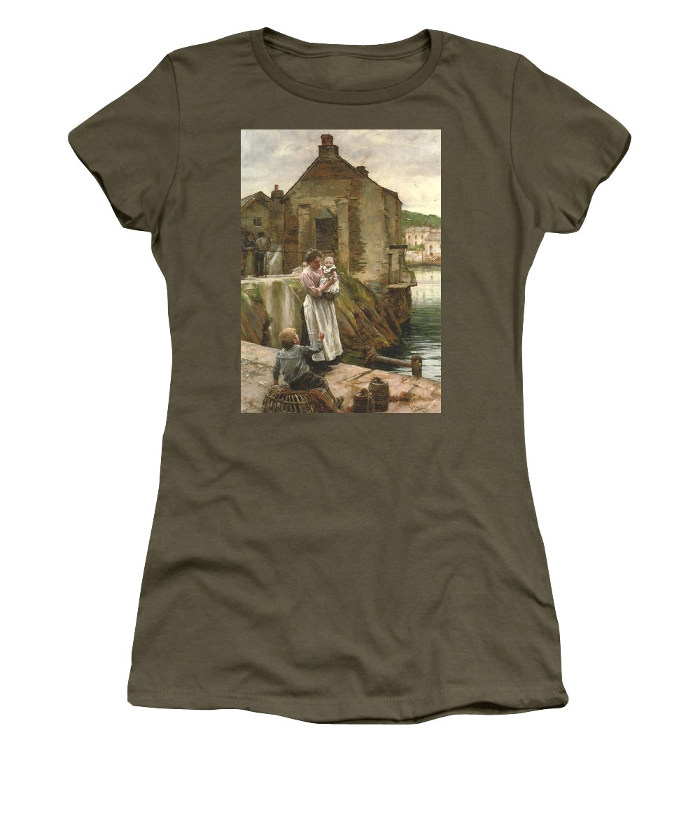 Walter Langley Women's T-Shirt featuring the digital art On The Quay Newlyn by Walter Langley