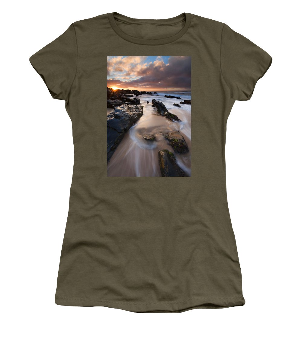 Basham Beach Women's T-Shirt featuring the photograph On The Rocks by Mike Dawson