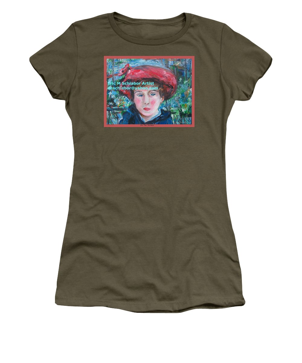 Renoir Women's T-Shirt featuring the painting On The Terrace Renoir Rendition by Eric Schiabor