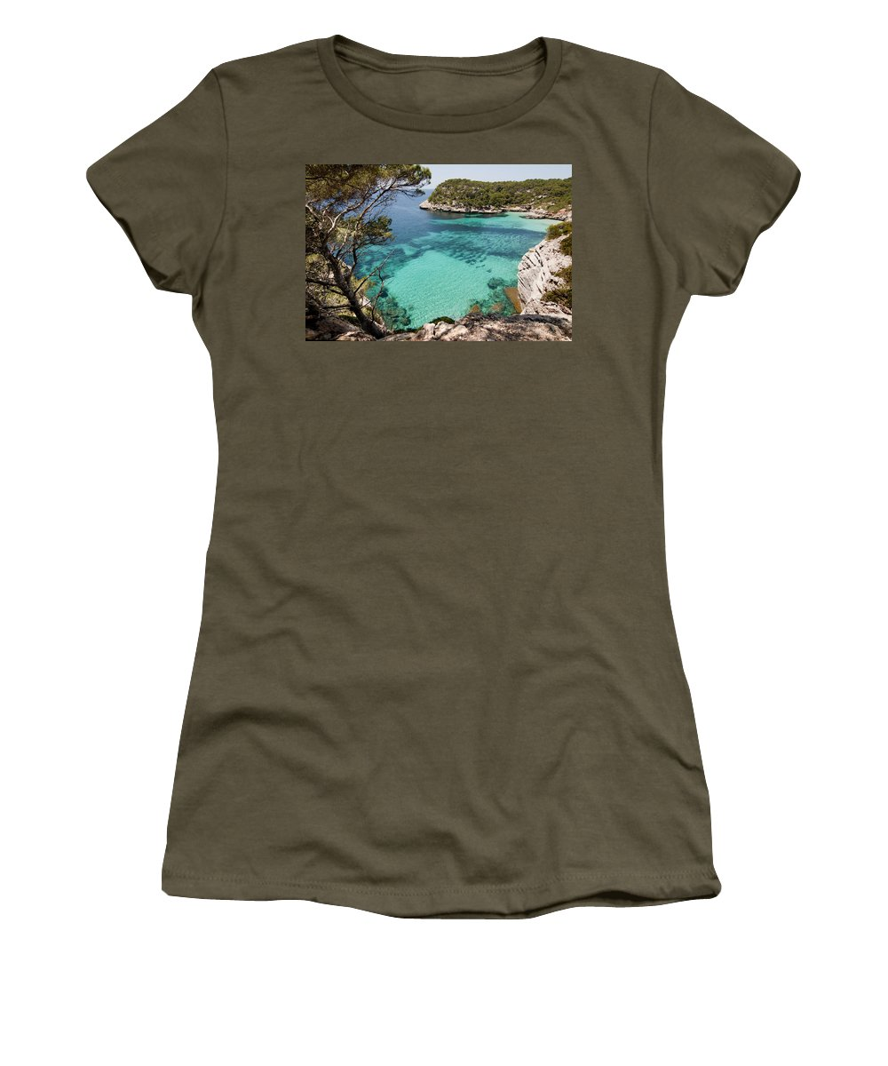 Blue Women's T-Shirt featuring the photograph One Step To Paradise - Cala Mitjana Beach In Menorca Is A Turquoise A Cristaline Water Paradise by Pedro Cardona Llambias