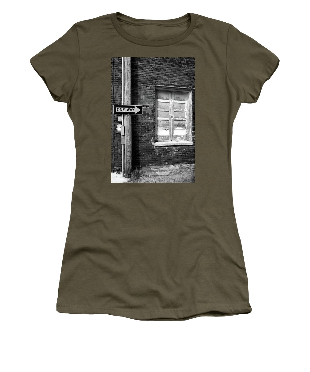 Black & White Women's T-Shirt featuring the photograph One Way by Peter Tellone