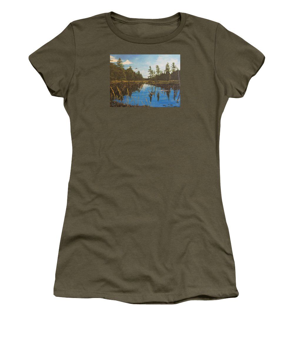 O'neal Lake Women's T-Shirt featuring the painting O'neal Lake by Wendy Shoults
