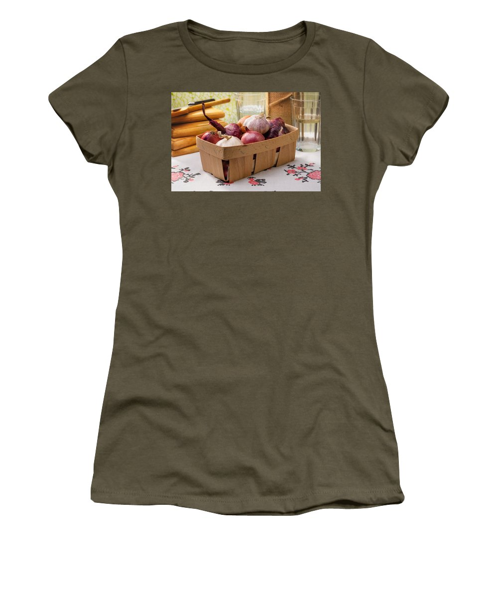 Cuisine Women's T-Shirt featuring the photograph Onions And Garlic In A Crate by Alain De Maximy