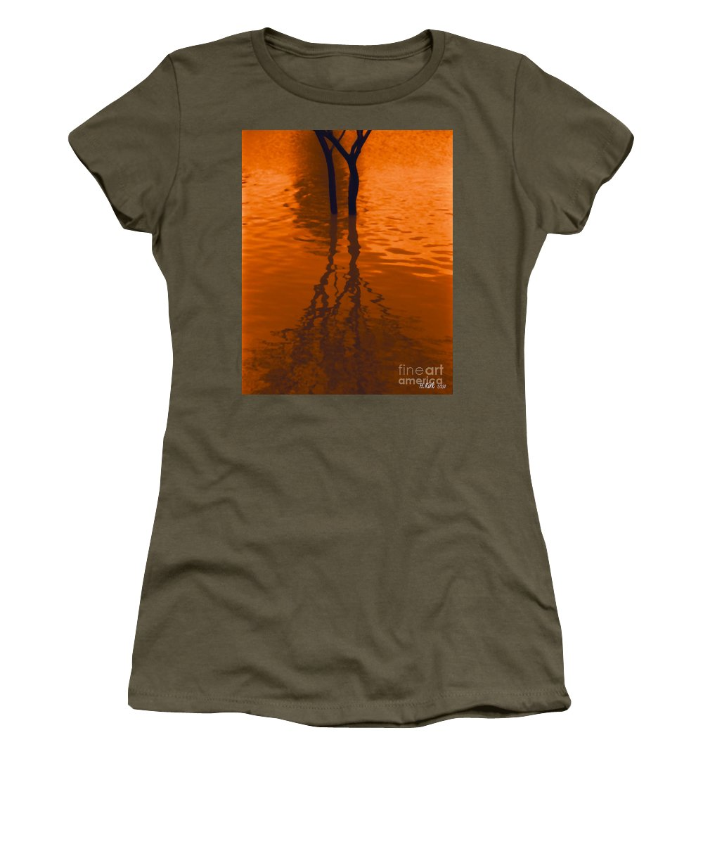 Water Women's T-Shirt featuring the photograph Orange Glow by Heather Kirk