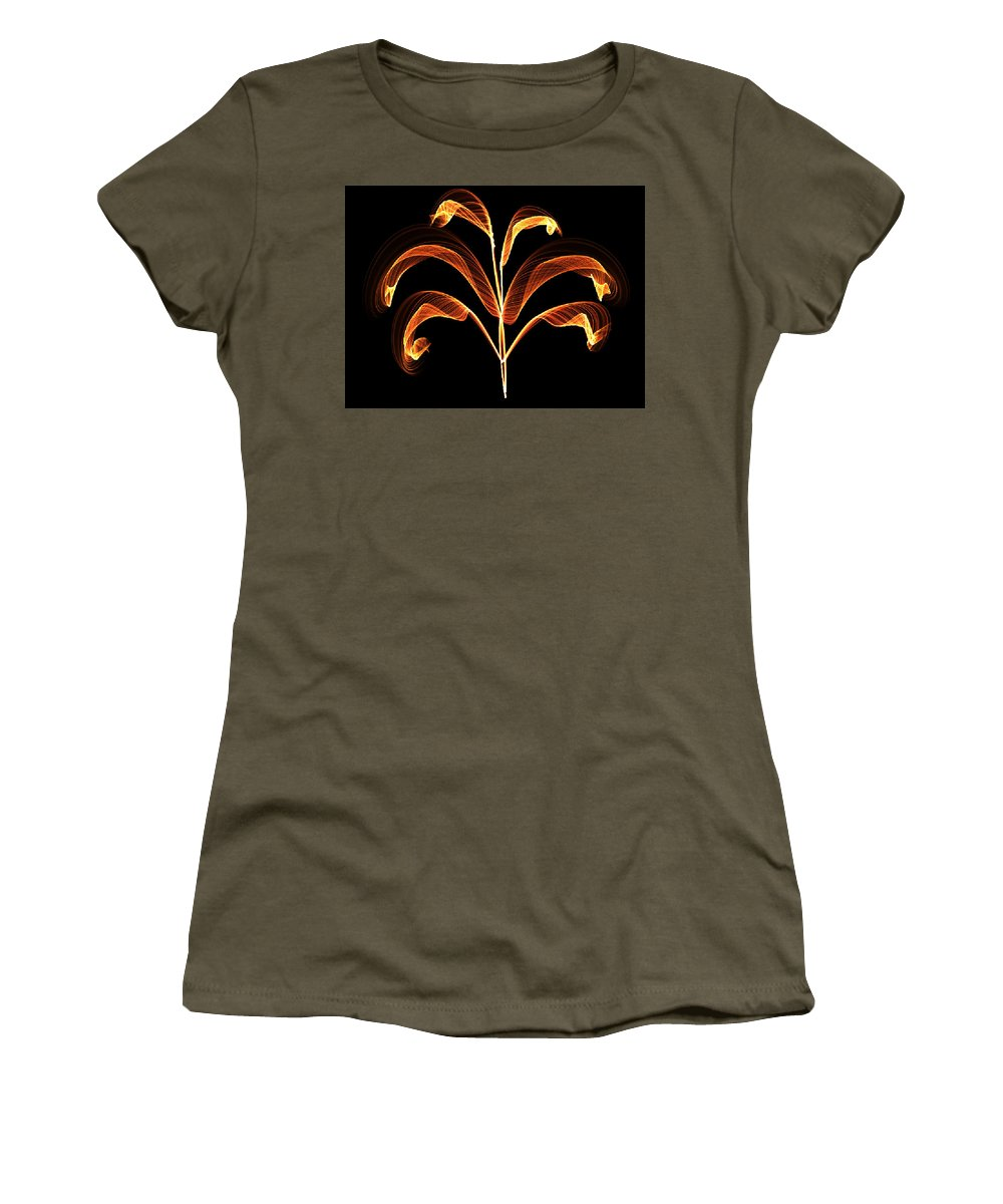 Orange Women's T-Shirt featuring the painting Orange Glowing Plant by Bruce Nutting