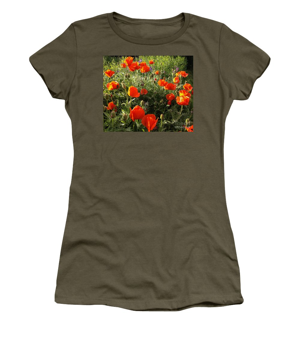 Poppies Women's T-Shirt featuring the photograph Orange Poppies In Sunlight by Kerstin Ivarsson