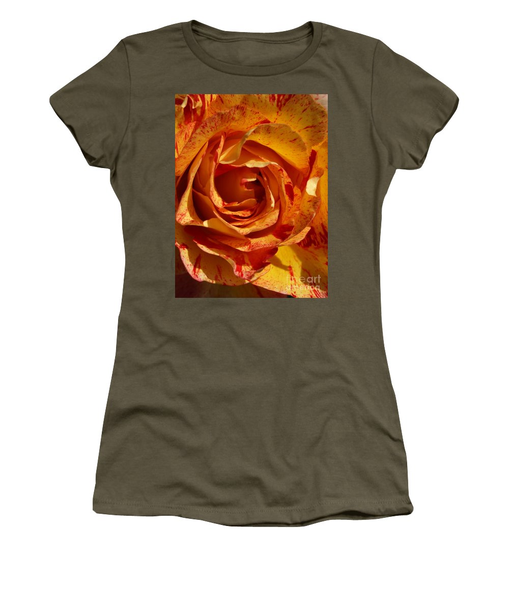 Orange Women's T-Shirt (Athletic Fit) featuring the photograph Orange Variegated Rose by Jacklyn Duryea Fraizer