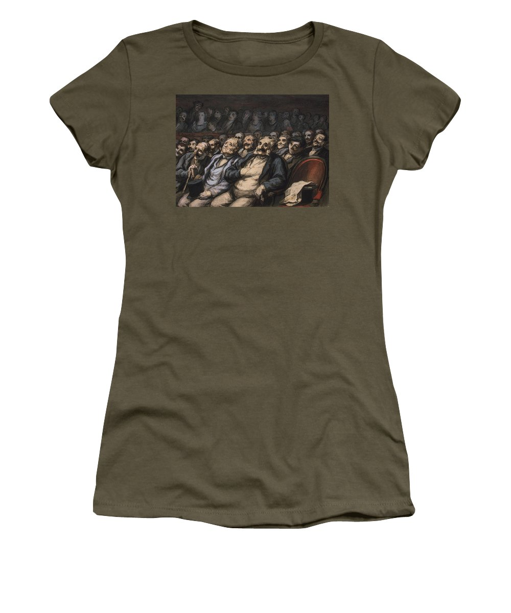Audience Women's T-Shirt featuring the painting Orchestra Seat by Honore Daumier