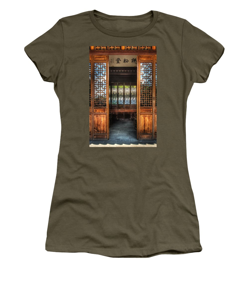 Doors Women's T-Shirt featuring the photograph Orient - Door - The Temple Doors by Mike Savad