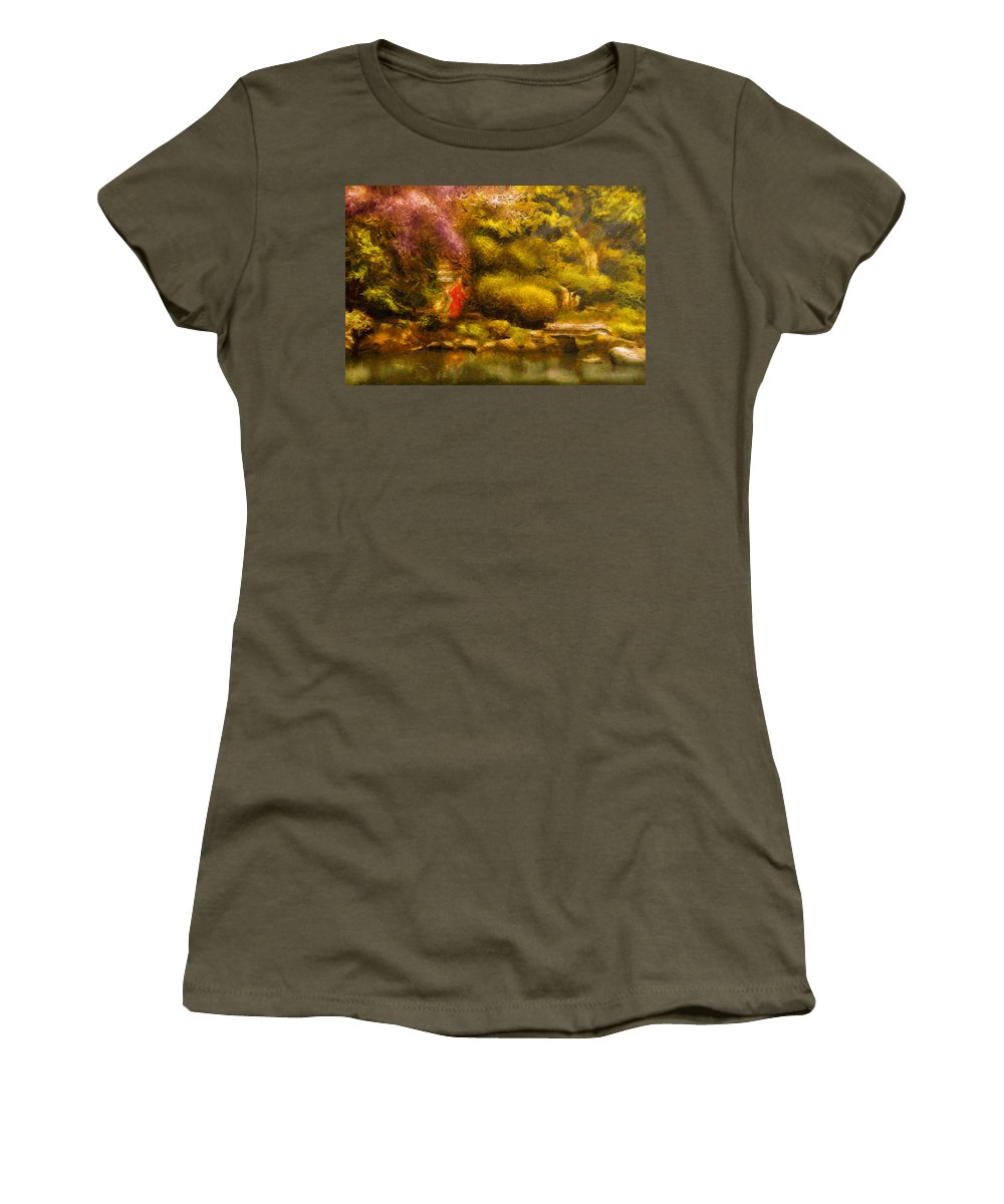 Japan Women's T-Shirt featuring the digital art Orient - The Japanese Garden by Mike Savad