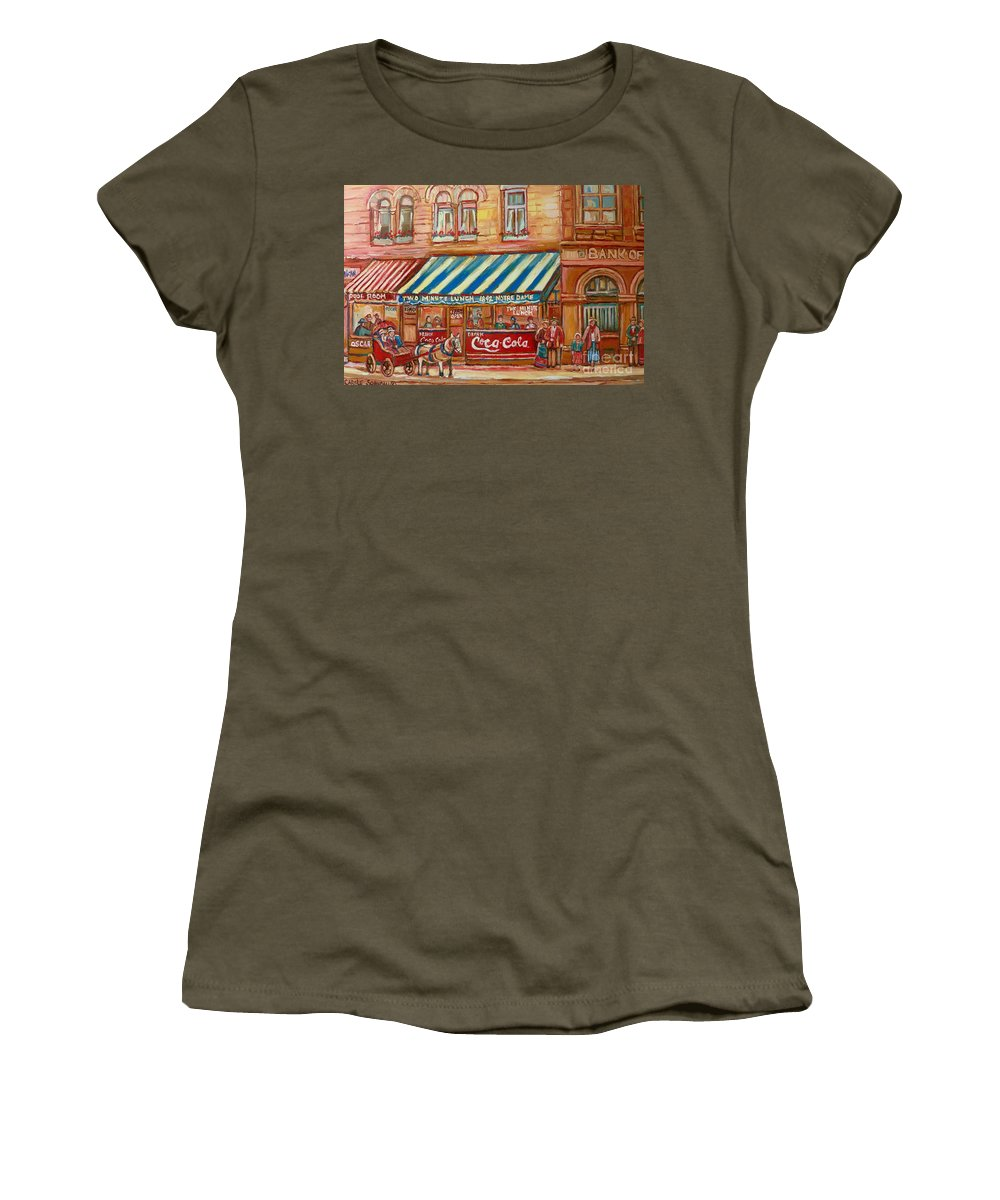 Montreal Scenes Women's T-Shirt (Athletic Fit) featuring the painting Original Bank Notre Dame Street by Carole Spandau