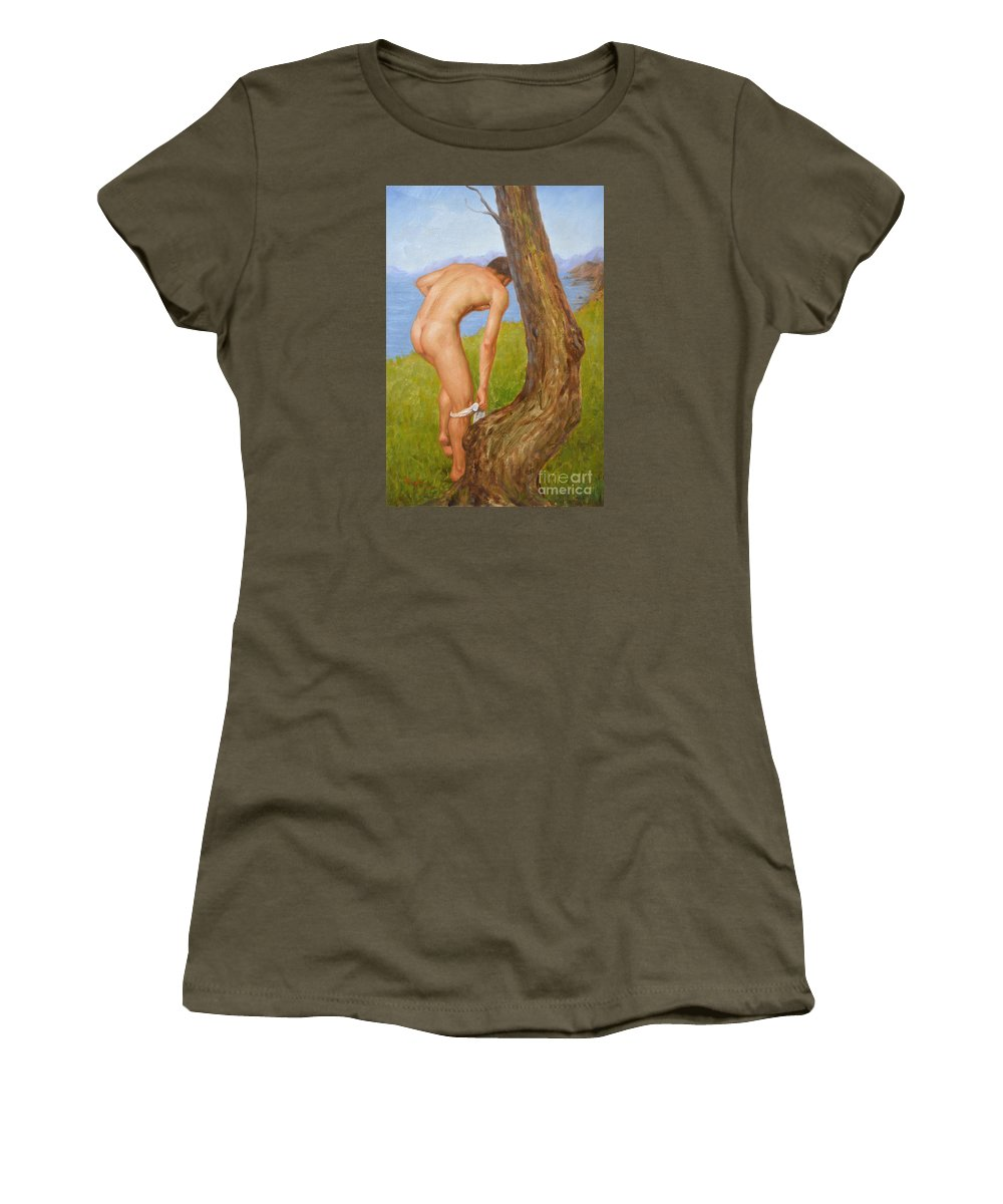 Original Women's T-Shirt featuring the painting Original Oil Painting Man Body Art Male Nude-029 by Hongtao Huang