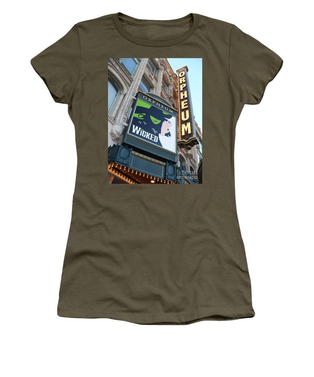 City Women's T-Shirt featuring the photograph Orpheum Sign by Carol Groenen
