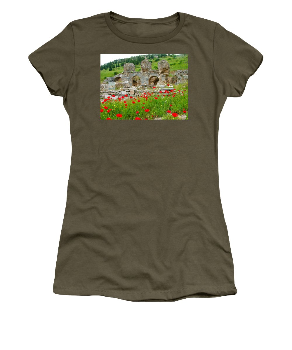 Entry Into Ephesus And Its Baths Women's T-Shirt featuring the photograph Our Entry Into Ephesus And Its Baths-turkey by Ruth Hager