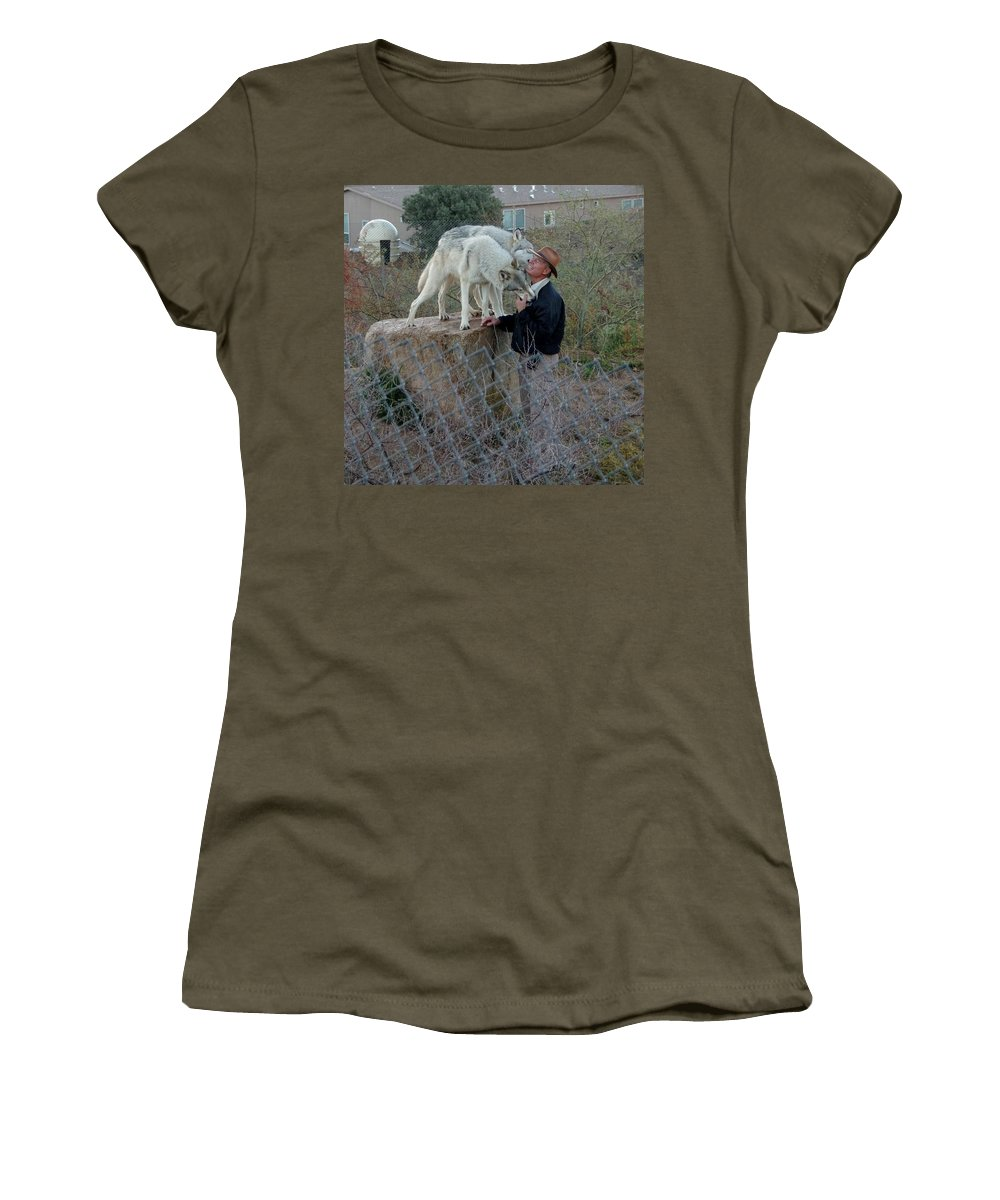 Out Of Africa Women's T-Shirt featuring the photograph Out Of Africa Friendly Wolves by Phyllis Spoor