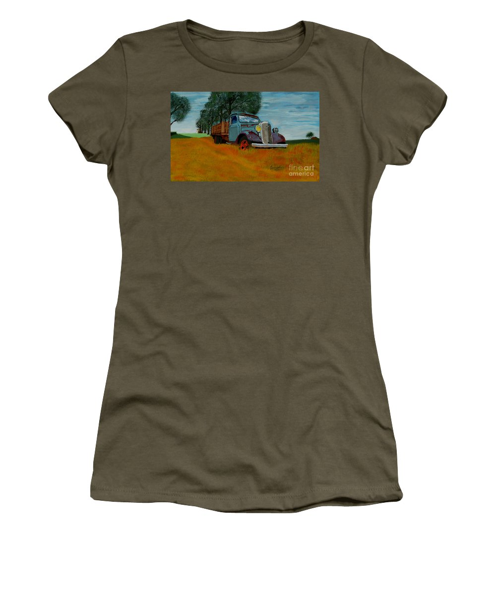 Truck Women's T-Shirt (Athletic Fit) featuring the painting Out To Pasture by Anthony Dunphy