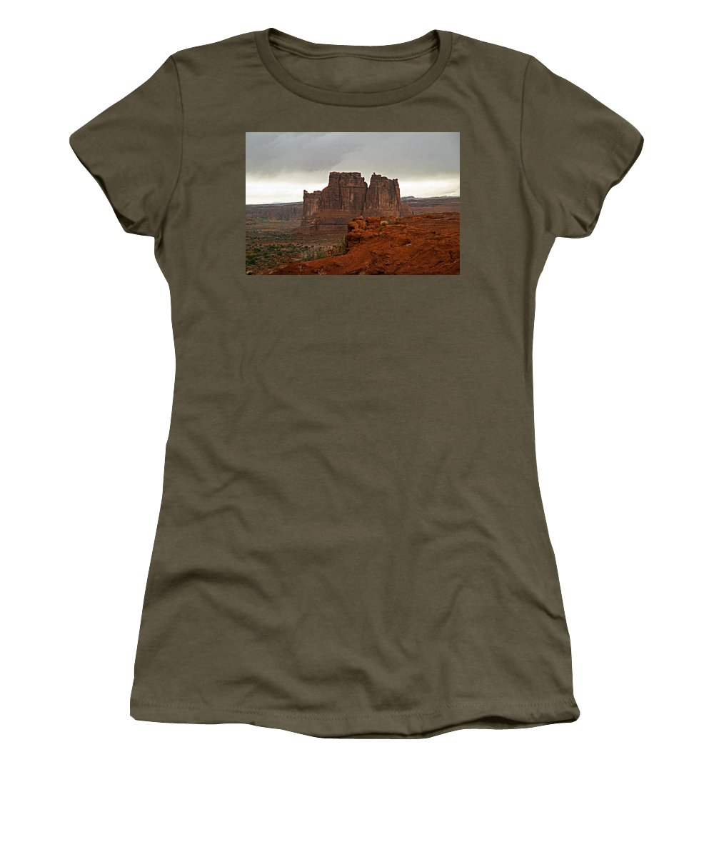Landscape Women's T-Shirt featuring the photograph outside Moab Utah by David Campbell