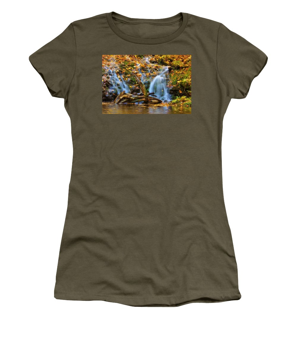Overlooked Falls Women's T-Shirt (Athletic Fit) featuring the photograph Overlooked Falls In The Porkies by Kathryn Lund Johnson